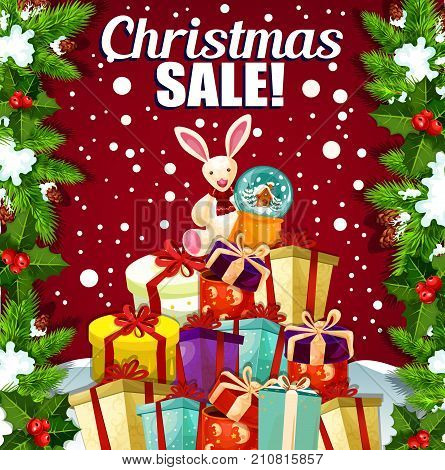 Christmas sale for winter season holidays special offers and shop promo discount. Vector Santa toys and gifts with ribbon bow, Christmas tree decoration of holly wreath and snowflakes for holiday sale
