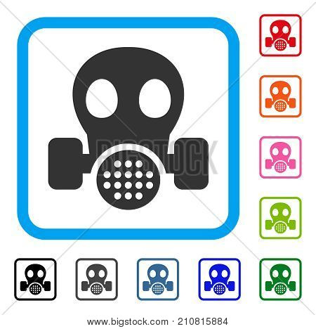 Gas Mask icon. Flat gray pictogram symbol inside a light blue rounded rectangular frame. Black, gray, green, blue, red, orange color additional versions of Gas Mask vector.