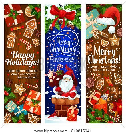Happy Holidays and Merry Christmas greeting banners for winter wishes. Vector Santa in chimney with gifts bag, Christmas tree decoration garland and gingerbread cookie with New Year ribbon wreath