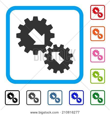 Integration Gears icon. Flat grey pictogram symbol inside a light blue rounded square. Black, gray, green, blue, red, orange color versions of Integration Gears vector.