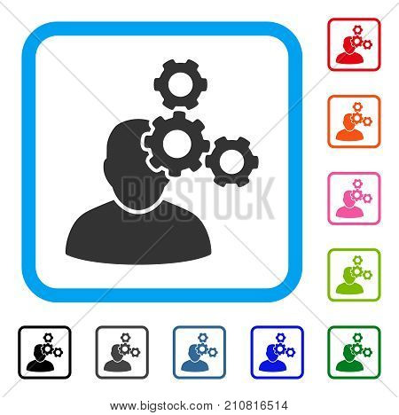 Mechanics Specialist icon. Flat grey pictogram symbol in a light blue rounded square. Black, gray, green, blue, red, orange color versions of Mechanics Specialist vector. Designed for web and app UI. poster