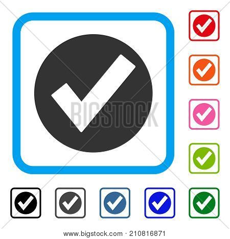 Ok icon. Flat gray iconic symbol in a light blue rounded squared frame. Black, gray, green, blue, red, orange color variants of Ok vector. Designed for web and software interfaces.