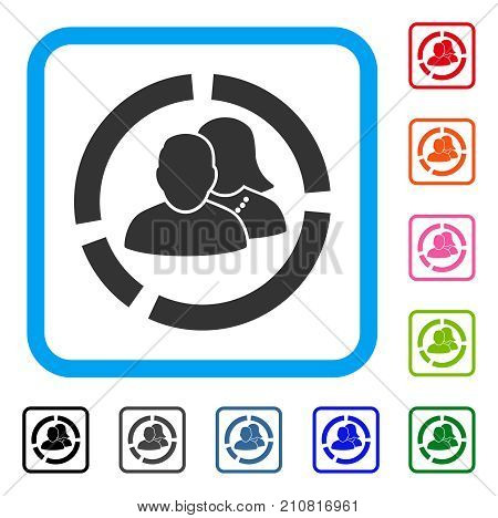 People Diagram icon. Flat gray pictogram symbol inside a light blue rounded rectangle. Black, gray, green, blue, red, orange color versions of People Diagram vector.