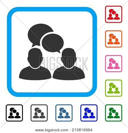 People Dialog icon. Flat grey iconic symbol in a light blue rounded square. Black, gray, green, blue, red, orange color variants of People Dialog vector. Designed for web and app interfaces.