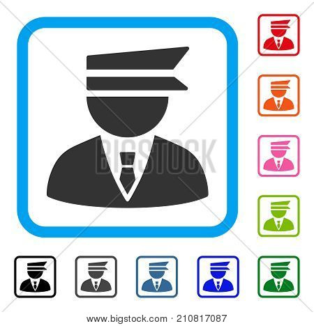 Police Officer icon. Flat grey pictogram symbol in a light blue rounded frame. Black, gray, green, blue, red, orange color additional versions of Police Officer vector.