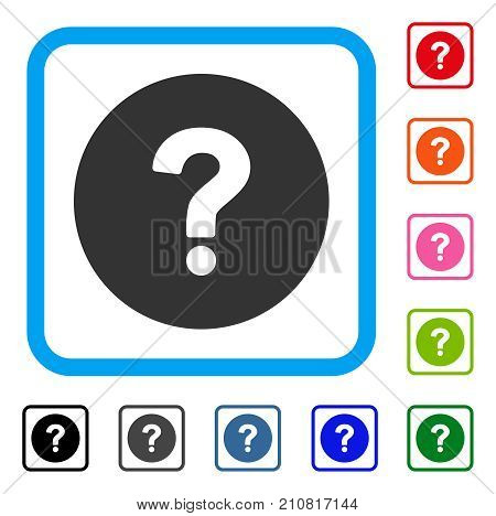Query icon. Flat gray iconic symbol inside a light blue rounded frame. Black, gray, green, blue, red, orange color variants of Query vector. Designed for web and app interfaces.