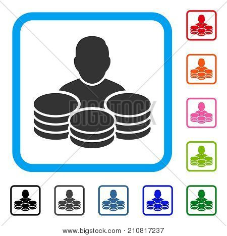 Rich Man icon. Flat grey pictogram symbol inside a light blue rounded square. Black, gray, green, blue, red, orange color additional versions of Rich Man vector. Designed for web and app interfaces.