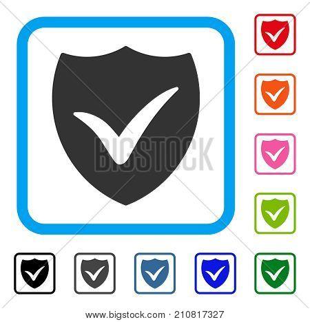 Shield Valid icon. Flat grey pictogram symbol inside a light blue rounded squared frame. Black, gray, green, blue, red, orange color variants of Shield Valid vector.