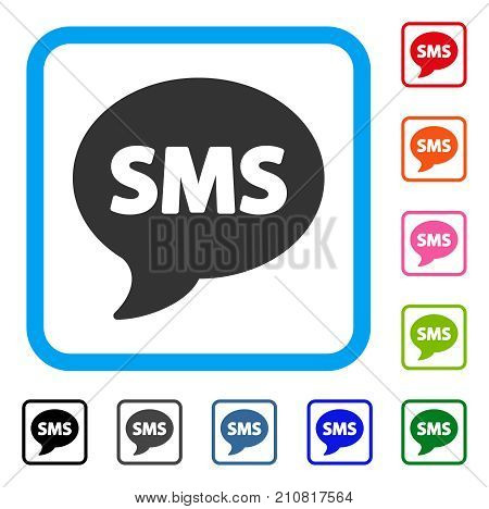 SMS icon. Flat gray pictogram symbol in a light blue rounded frame. Black, gray, green, blue, red, orange color versions of SMS vector. Designed for web and application interfaces.