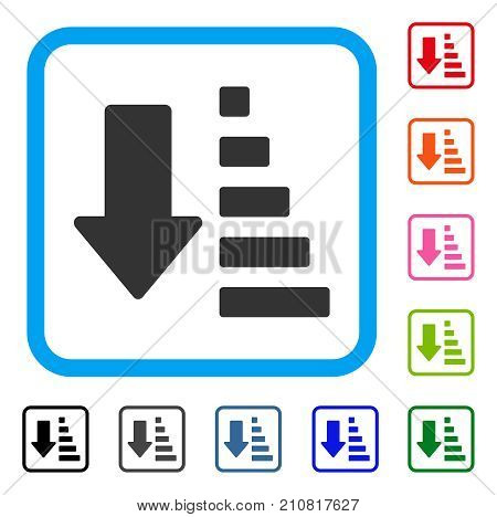 Sort Down Arrow icon. Flat grey pictogram symbol in a light blue rounded rectangle. Black, gray, green, blue, red, orange color additional versions of Sort Down Arrow vector.