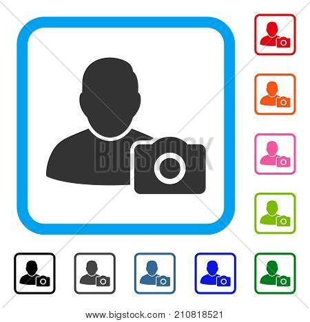 User Photo icon. Flat grey iconic symbol in a light blue rounded squared frame. Black, gray, green, blue, red, orange color variants of User Photo vector. Designed for web and app user interface.