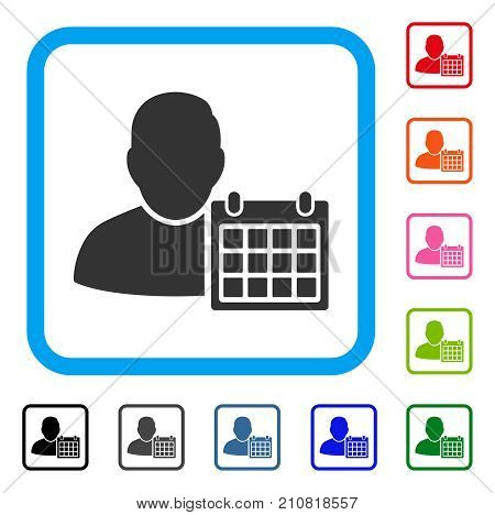 User Schedule Calendar icon. Flat gray pictogram symbol inside a light blue rounded rectangle. Black, gray, green, blue, red, orange color versions of User Schedule Calendar vector.