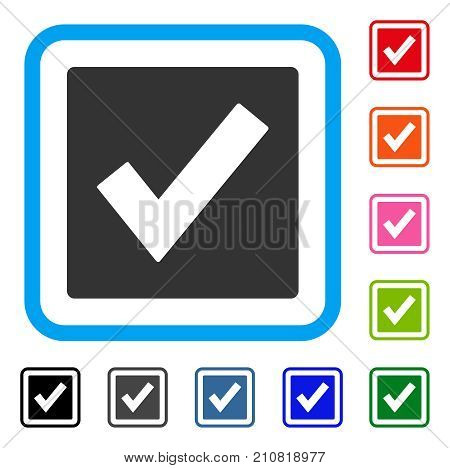 Valid icon. Flat grey iconic symbol in a light blue rounded rectangular frame. Black, gray, green, blue, red, orange color versions of Valid vector. Designed for web and application interfaces.