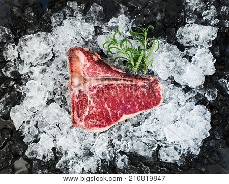 Raw fresh meat t-bone steak on chipped ice with rosemary over dark slate stone backdrop, top view