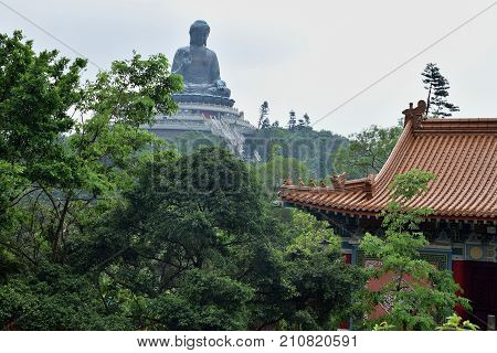 The landscape of Lantau Island in Hong Kong with the Tian Tan Buddha also known as Big Buddha in the background. With its 34 meters is it the world tallest bronze seated statue of Buddha.