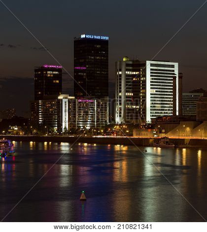 Moscow Russia - September 10, 2017. World Trade Center and Hotel Crowne Plaza in Moscow. Night view from bridge.Colorful illumination and reflections in the river