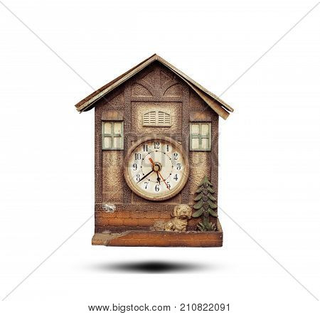 Vintage clock . clock isolated on white background.Wooden clock . old clock .