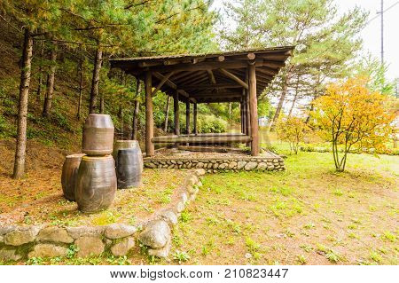 Covered rest area in a countryside park shaded by evergreen trees with earthen pots in the foreground