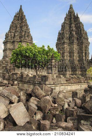 Ancient Temple of Prambanan. The island of Java. Yogyakarta. Indonesia.