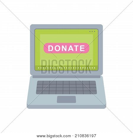 Donate button. Help icon donation. Gift charity. Isolated support design sign. Contribute, contribution, give money, giving symbol. Vector illustration art