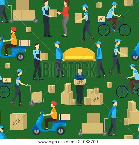 Cartoon Delivery Workers Background Pattern on a Green Flat Design Style Packages And Move Service Concept. Vector illustration