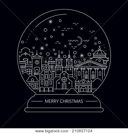 Vector Christmas thin line illustration. An ancient winter night town inside a snow globe.