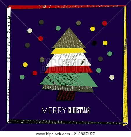 Vector square New Year greeting Card. Christmas tree cut out of colored newsprint paper on a dark background with frame.