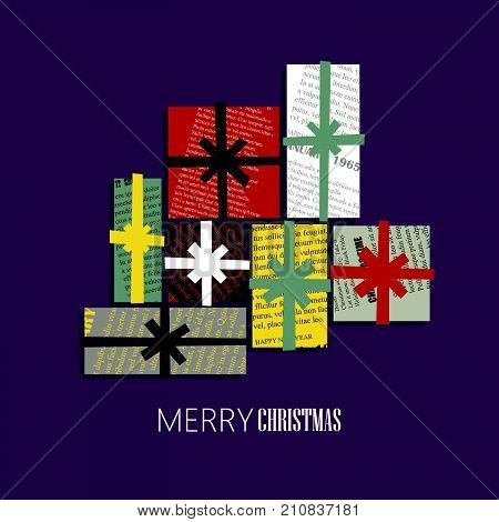 Vector square New Year greeting Card. Gift boxes cut out of colored newsprint paper on a dark background.