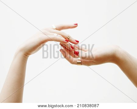 Beauty Delicate Hands With Manicure Close Up. Beautiful Female Fingers With Manicure And Fashionable