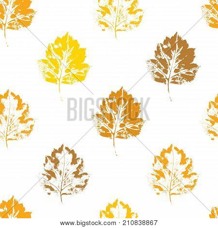 Colorful seamless pattern of autumn, fall howthorn leaves, hand made ink print, stamp, vector illustration on white background. Hand printed grunge, silhouette seamless pattern of autumn leaves