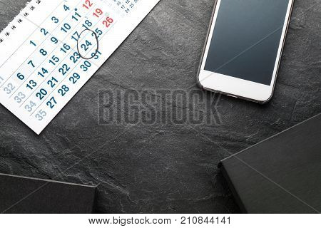 Frame from calendar, phone and gift boxes horizontal