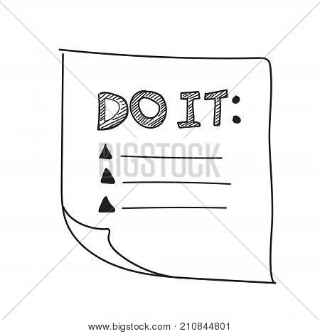 Vector isolated outline hand drawn check to do list, bullet, check mark and check box in a doodle sketch cartoon style. Paper note with task plan.