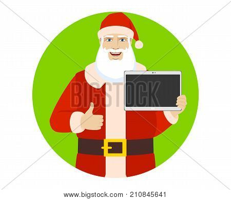 Santa Claus showing blank digital tablet PC and showing thumb up. Portrait of Santa Claus in a flat style. Vector illustration.