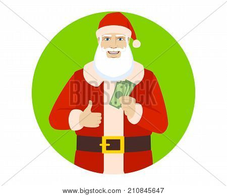 Santa Claus with cash money and showing thumb up. Portrait of Santa Claus in a flat style. Vector illustration.