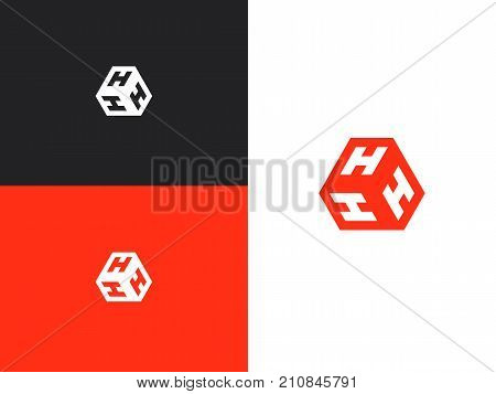 Vector letter H logo. The cube with the letter HHH brand logo. Modern logotype, business corporate template.