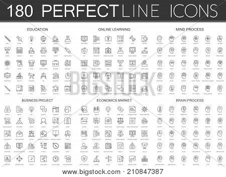 180 modern thin line icons set of education, online learning, mind process, business project, economics market, brain process isolated