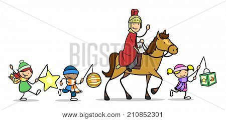 Cartoon Saint Martin parade with children lanterns and horse