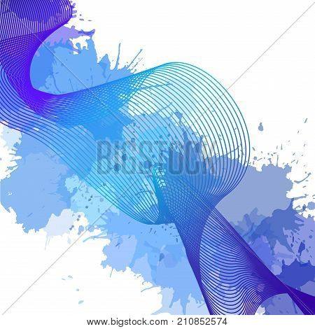 Winter cover with metamorphoses colorful lines and colorful watercolor blots for flyers letterhead and your business