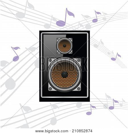 colorful illustration with sound speaker on musical note background