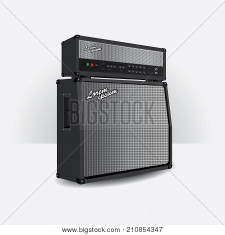 Music Guitar amplifier Realistic Isolated vector illustration