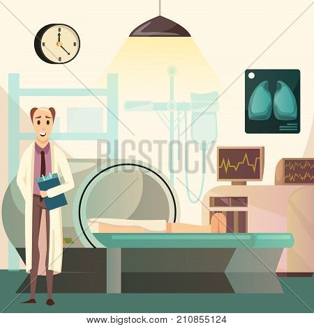 Defeat cancer orthogonal medical background poster with oncologist during magnetic resonance imaging MRI examination vector illustration