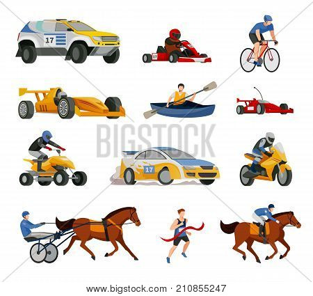 Racing flat icons collection of isolated images of motor racing cars bicycles race boats and chariots vector illustration