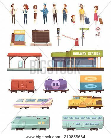 Railway decorative icons set with station building driver travelers oil tank freight and passenger wagons isolated vector illustration