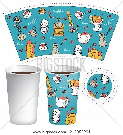 Vector template paper cup for hot drink. Disposable cup for tea or coffee with the texture of doodles dishes kettles grinders cups vases fruits