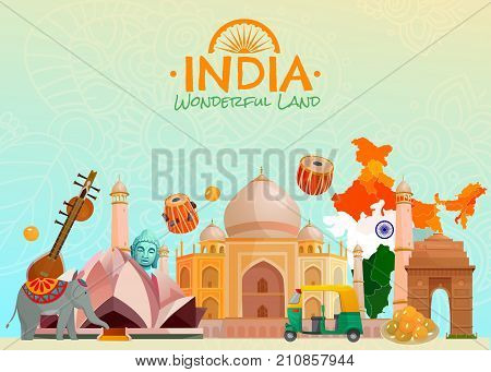 Colorful travel poster with taj mahal lotus temple rickshaw and other symbols of wonderful land india cartoon vector illustration