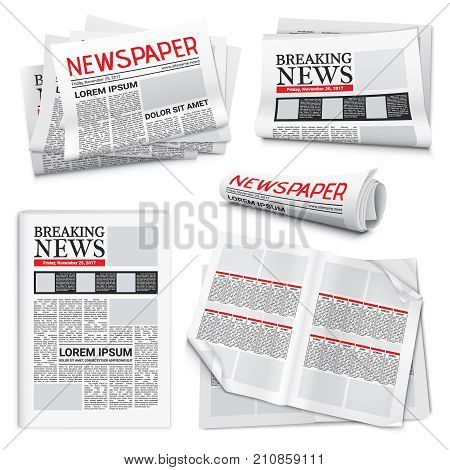 Set of newspaper icons on white background with headlines and text articles on breaking news theme isolated realistic vector illustration