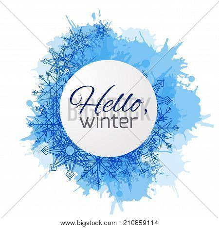 Winter vector cover with doodle snowflakes and blue blobs for your business