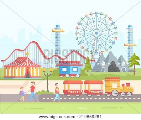 Weekend - modern flat design style vector illustration on urban background. Amusement park with horror attractions, circus, big wheel, train, roller coaster, lantern, people. Entertainment concept