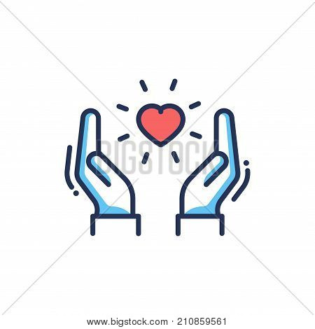 Orphans Help - modern vector single line design icon. An image of a heart floating between two hands, red and blue color, white background. Charity, care, volunteering presentation