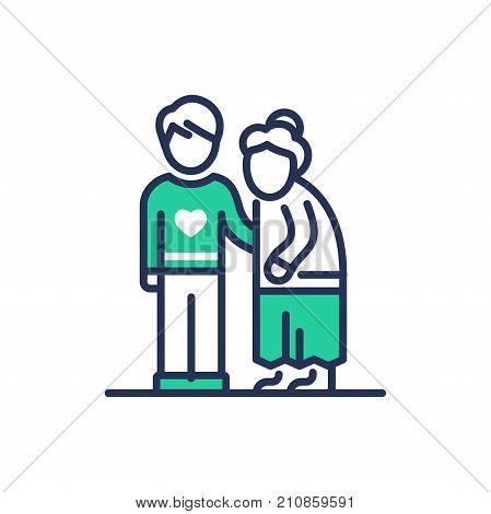 Elderly People Help - modern   vector single line design icon. An image depicting two people, a young man, son , grandnson, a senior person, grandmother, he . Use it for your presentation.